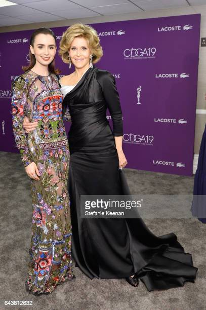 Honoree Lily Collins and actor Jane Fonda attend The 19th CDGA with Presenting Sponsor LACOSTE at The Beverly Hilton Hotel on February 21 2017 in...