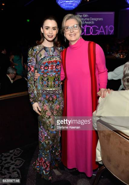 Honoree Lily Collins and actor Meryl Streep attend The 19th CDGA with Presenting Sponsor LACOSTE at The Beverly Hilton Hotel on February 21 2017 in...
