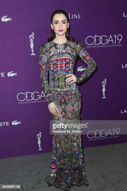Honoree Lily Collins attends The 19th CDGA with Presenting Sponsor LACOSTE at The Beverly Hilton Hotel on February 21 2017 in Beverly Hills California