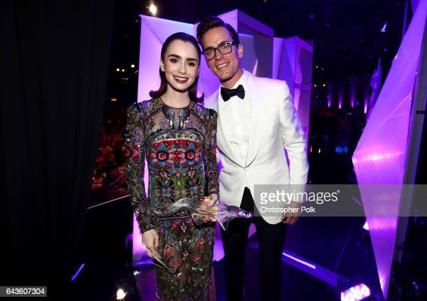 Honoree Lily Collins recipient of the LACOSTE Spotlight Award and actor Matt Bomer pose at The 19th CDGA with Presenting Sponsor LACOSTE at The...