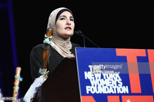 Honoree Linda Sarsour speaks onstage during the 30th Anniversary Celebrating Women Breakfast at Marriott Marquis Hotel on May 11 2017 in New York City
