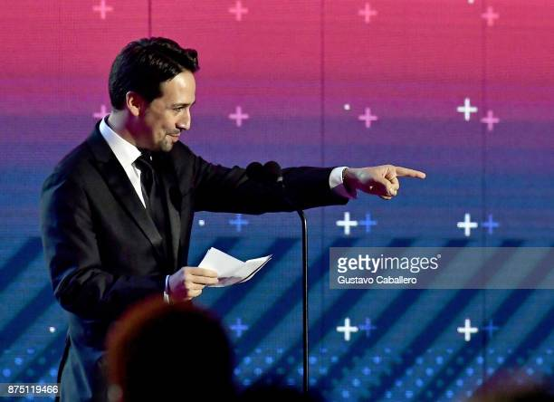 Honoree LinManuel Miranda accepts the President's Merit Award onstage during The 18th Annual Latin Grammy Awards at MGM Grand Garden Arena on...