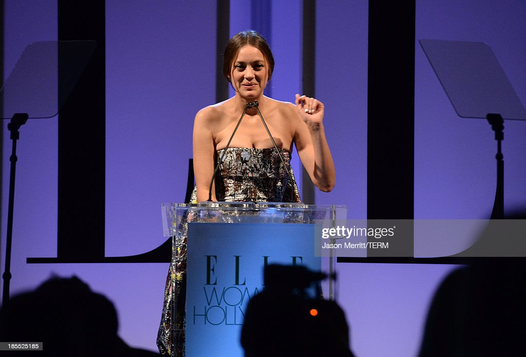 Honoree Marion Cotillard speaks onstage at ELLE's 20th Annual Women In Hollywood Celebration at Four Seasons Hotel Los Angeles at Beverly Hills on October 21, 2013 in Beverly Hills, California.