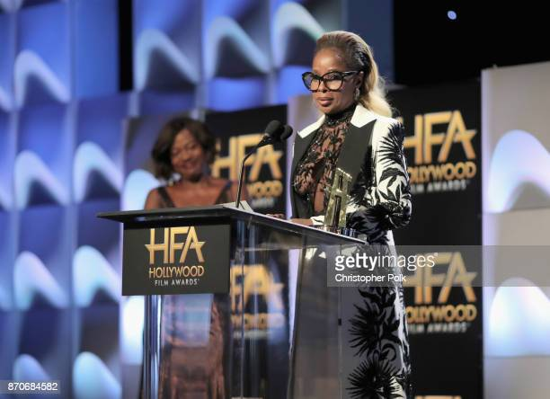 Honoree Mary J Blige accepts the Hollywood Breakout Performance Actress Award for 'Mudbound' onstage during the 21st Annual Hollywood Film Awards at...