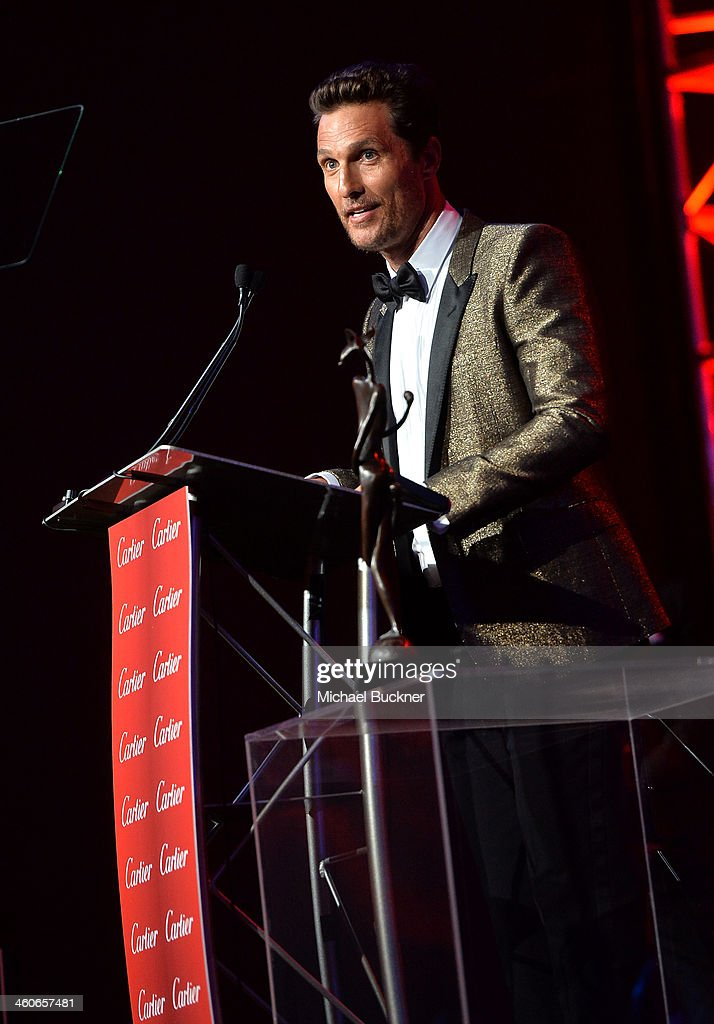 Honoree <a gi-track='captionPersonalityLinkClicked' href=/galleries/search?phrase=Matthew+McConaughey&family=editorial&specificpeople=201663 ng-click='$event.stopPropagation()'>Matthew McConaughey</a> accepts the Desert Palm Achievement - Actor award onstage during the 25th annual Palm Springs International Film Festival awards gala at Palm Springs Convention Center on January 4, 2014 in Palm Springs, California.