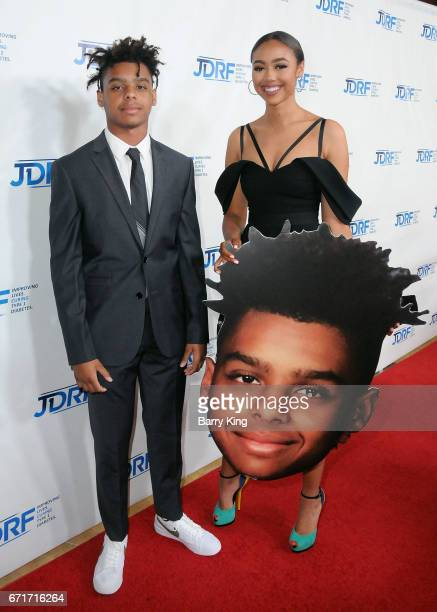Honoree Max Harris and sister Bella Harris attend JDRF LA Chapter's Imagine Gala at The Beverly Hilton Hotel on April 22 2017 in Beverly Hills...