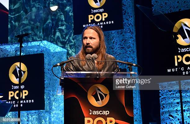 Honoree Max Martin accepts the Songwriter Of The Year onstage during the 2016 ASCAP Pop Awards at the Dolby Ballroom on April 27 2016 in Hollywood...