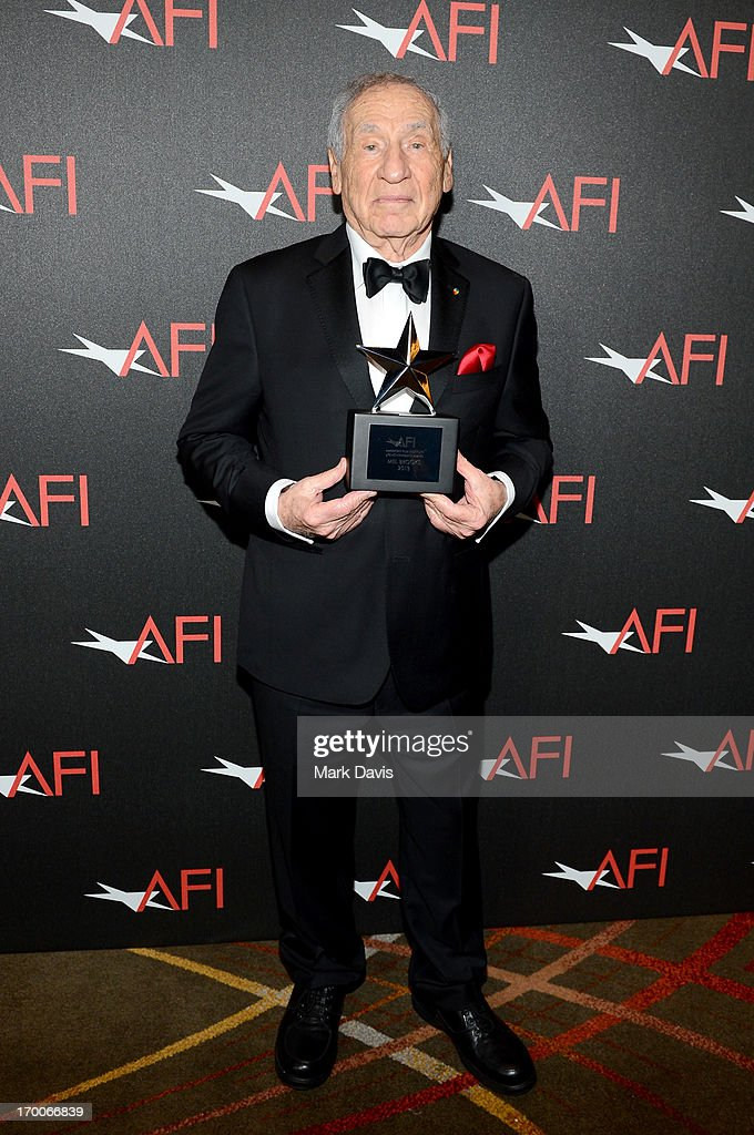 Honoree <a gi-track='captionPersonalityLinkClicked' href=/galleries/search?phrase=Mel+Brooks&family=editorial&specificpeople=208129 ng-click='$event.stopPropagation()'>Mel Brooks</a> poses with award during AFI's 41st Life Achievement Award Tribute to <a gi-track='captionPersonalityLinkClicked' href=/galleries/search?phrase=Mel+Brooks&family=editorial&specificpeople=208129 ng-click='$event.stopPropagation()'>Mel Brooks</a> at Dolby Theatre on June 6, 2013 in Hollywood, California. 23647_005_MD_0081.JPG