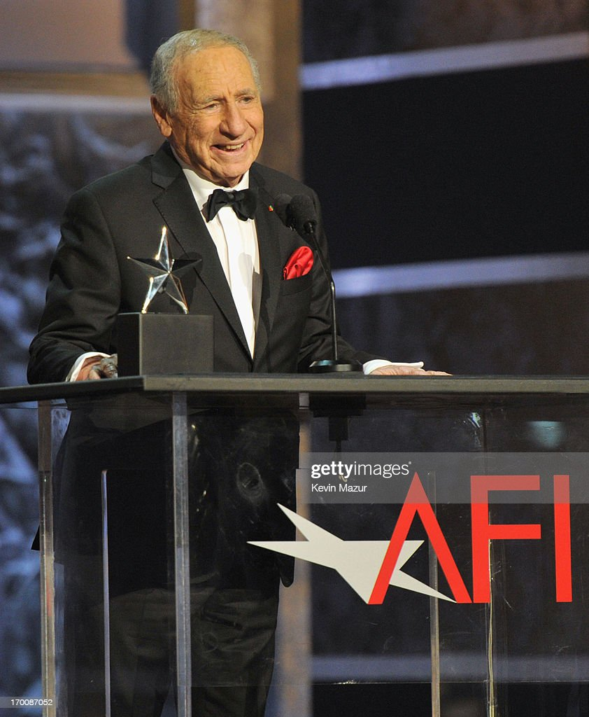 Honoree <a gi-track='captionPersonalityLinkClicked' href=/galleries/search?phrase=Mel+Brooks&family=editorial&specificpeople=208129 ng-click='$event.stopPropagation()'>Mel Brooks</a> speaks onstage during AFI's 41st Life Achievement Award Tribute to <a gi-track='captionPersonalityLinkClicked' href=/galleries/search?phrase=Mel+Brooks&family=editorial&specificpeople=208129 ng-click='$event.stopPropagation()'>Mel Brooks</a> at Dolby Theatre on June 6, 2013 in Hollywood, California. 23647_004_KM_1792.JPG