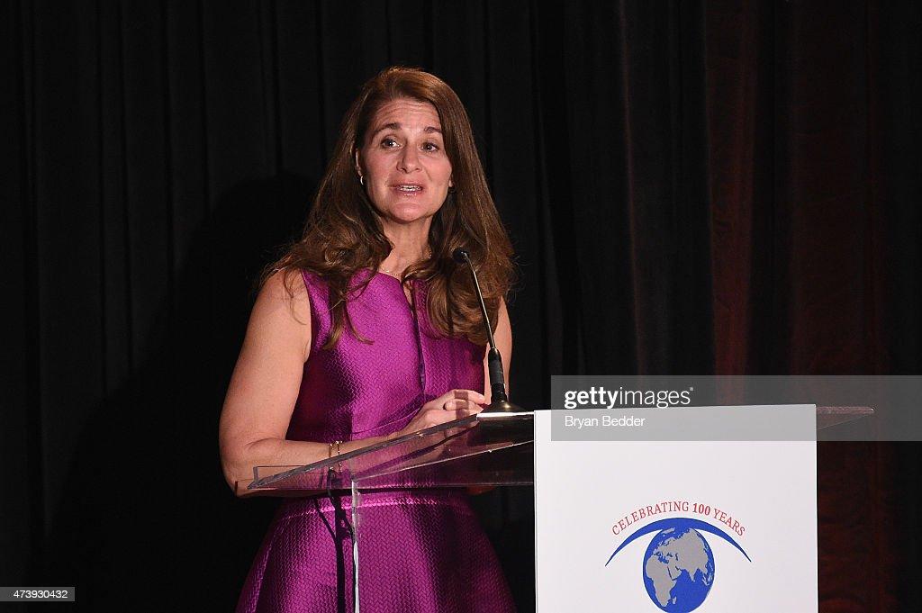 Honoree Melinda Gates speaks onstage as Helen Keller International celebrates their centennial anniversary with the 2015 Spirit Of Helen Keller Gala...