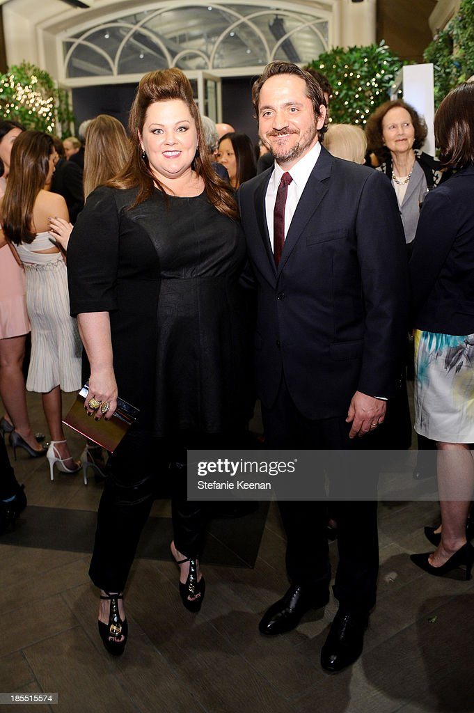 Honoree <a gi-track='captionPersonalityLinkClicked' href=/galleries/search?phrase=Melissa+McCarthy&family=editorial&specificpeople=880291 ng-click='$event.stopPropagation()'>Melissa McCarthy</a> and actor <a gi-track='captionPersonalityLinkClicked' href=/galleries/search?phrase=Ben+Falcone&family=editorial&specificpeople=4068633 ng-click='$event.stopPropagation()'>Ben Falcone</a> attend ELLE's 20th Annual Women In Hollywood Celebration at Four Seasons Hotel Los Angeles at Beverly Hills on October 21, 2013 in Beverly Hills, California.