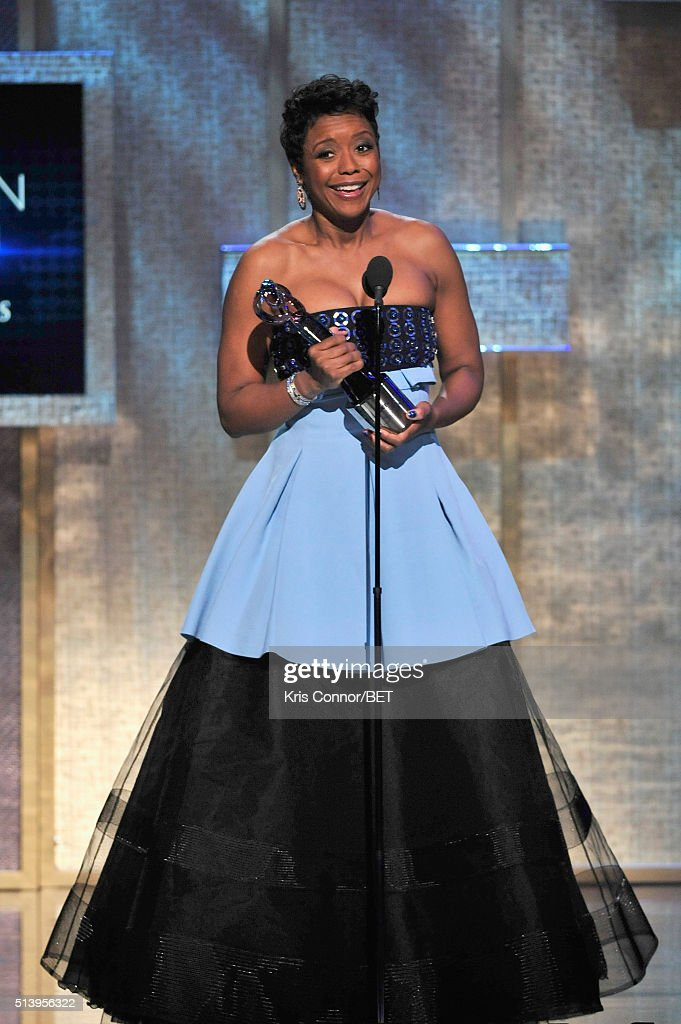 Honoree Mellody Hobson accepts her award on stage during the BET Honors 2016 Show at Warner Theatre on March 5 2016 in Washington DC