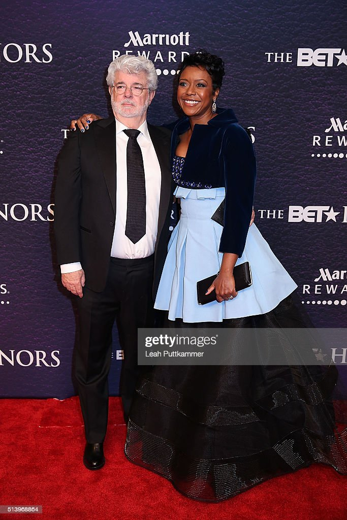 Honoree Mellody Hobson and filmmaker George Lucas attend the BET Honors 2016 at Warner Theatre on March 5 2016 in Washington DC