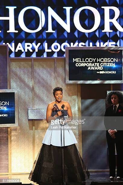 Honoree Mellody Hobson receives an award at the BET Honors 2016 at Warner Theatre on March 5 2016 in Washington DC
