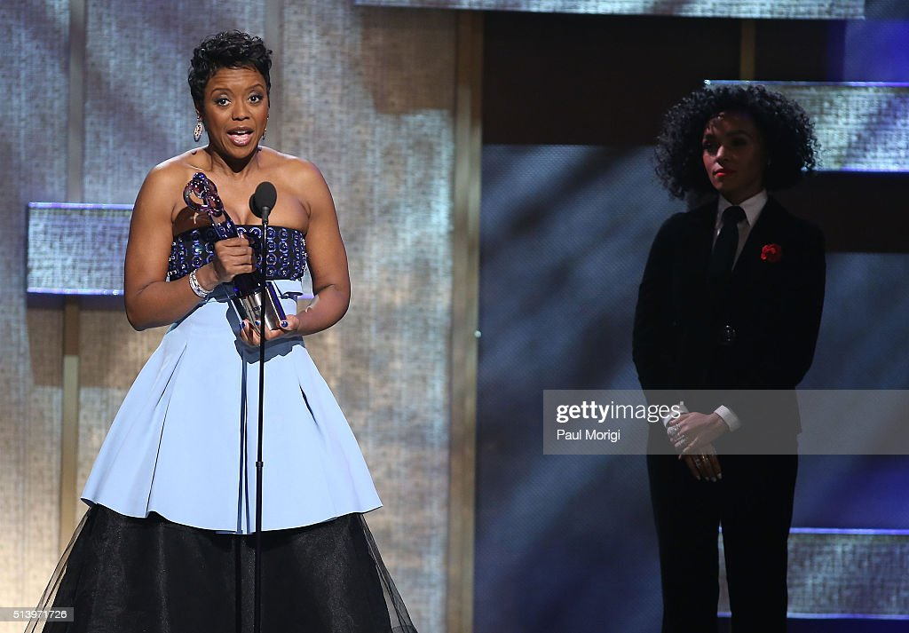 Honoree Mellody Hobson speaks on stage after receiving an award during the BET Honors 2016 Show at Warner Theatre on March 5 2016 in Washington DC