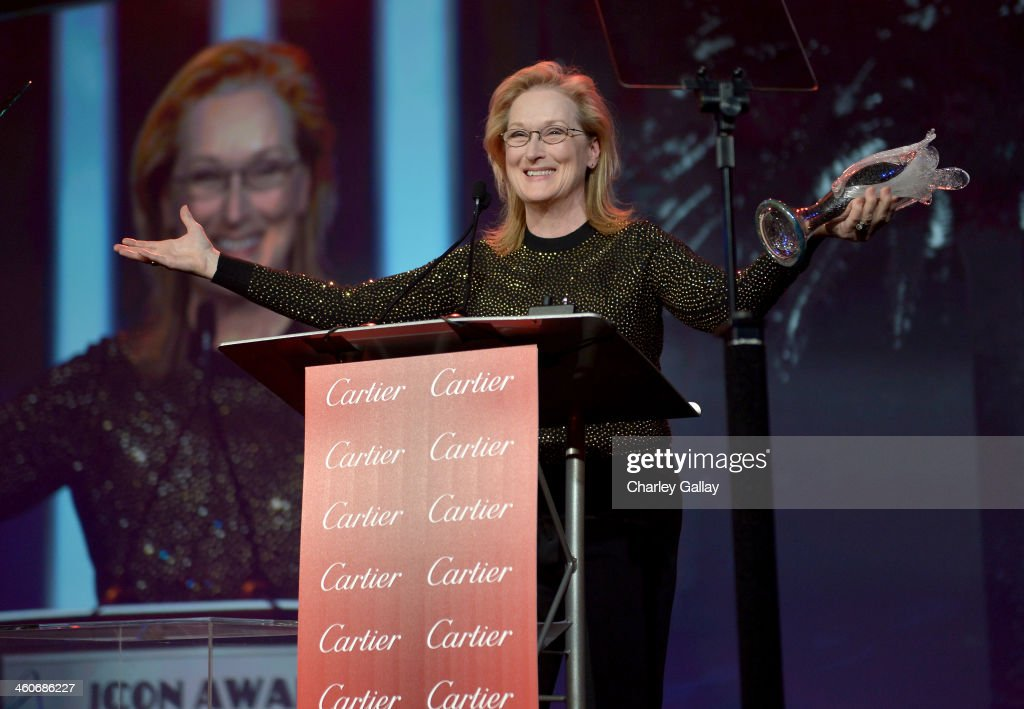 Honoree <a gi-track='captionPersonalityLinkClicked' href=/galleries/search?phrase=Meryl+Streep&family=editorial&specificpeople=171097 ng-click='$event.stopPropagation()'>Meryl Streep</a> accepts the Icon Award onstage during the 25th annual Palm Springs International Film Festival awards gala at Palm Springs Convention Center on January 4, 2014 in Palm Springs, California.