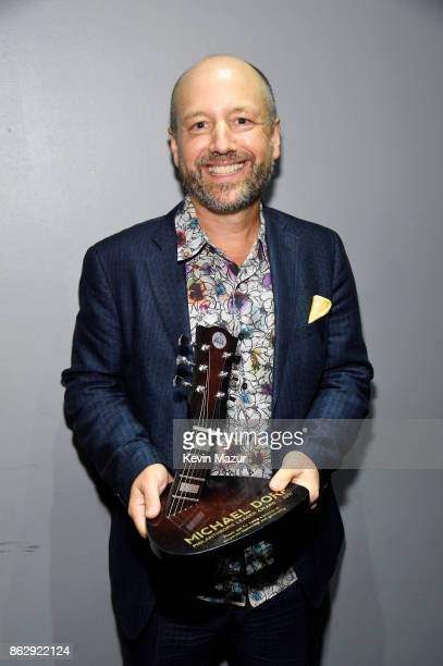 Honoree Michael Dorf poses backstage with his award during the Little Kids Rock Benefit 2017 at PlayStation Theater on October 18 2017 in New York...