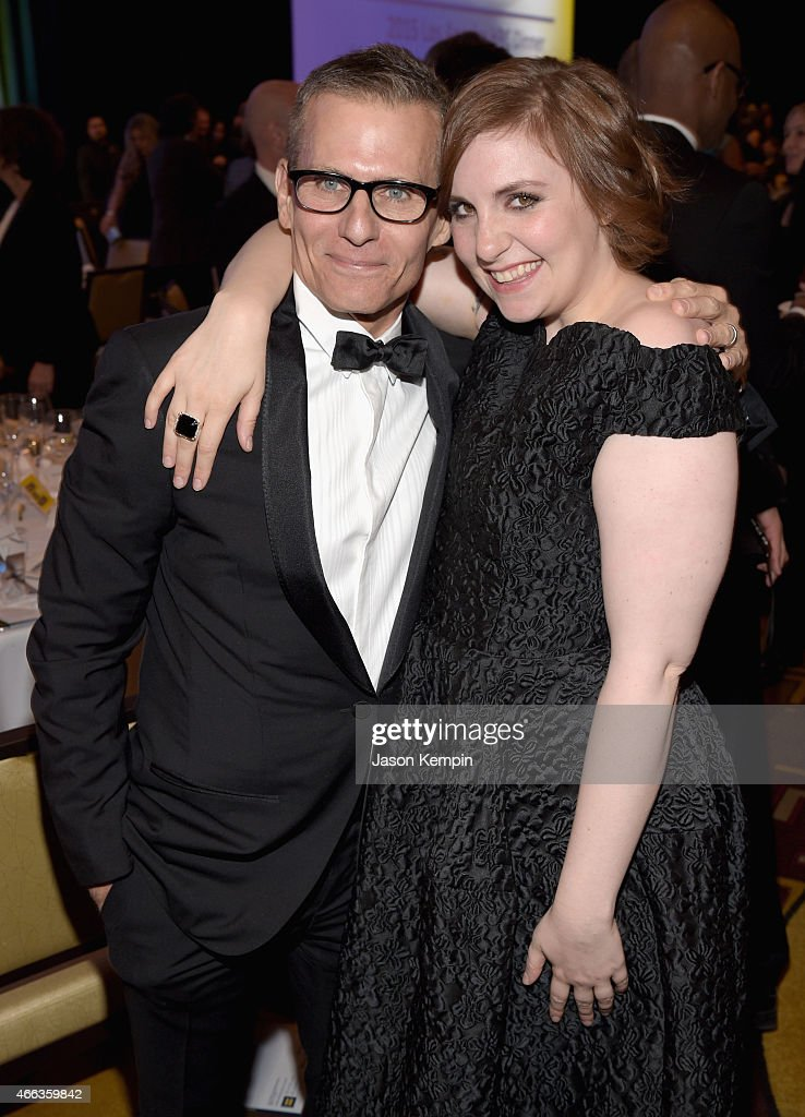 Honoree Michael Lombardo (L) and actress/director/producer Lena Dunham attend the Human Rights Campaign Los Angeles Gala 2015 at JW Marriott Los Angeles at L.A. LIVE on March 14, 2015 in Los Angeles, California.