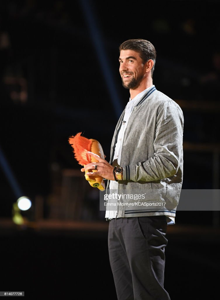 Honoree Michael Phelps accepts the Legend Award onstage during Nickelodeon Kids' Choice Sports Awards 2017 at Pauley Pavilion on July 13, 2017 in Los Angeles, California.