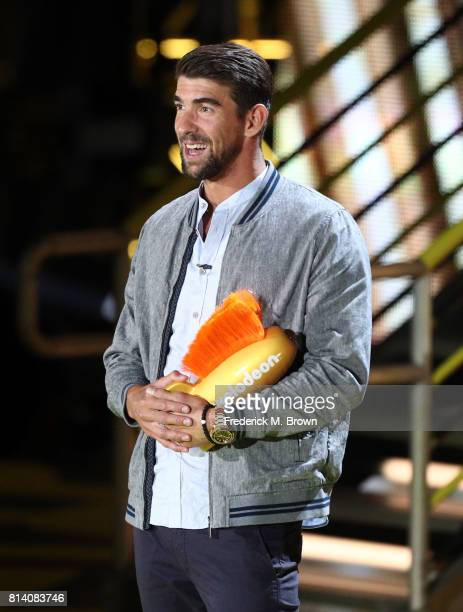 Honoree Michael Phelps accepts the Legend Award onstage during Nickelodeon Kids' Choice Sports Awards 2017 at Pauley Pavilion on July 13 2017 in Los...