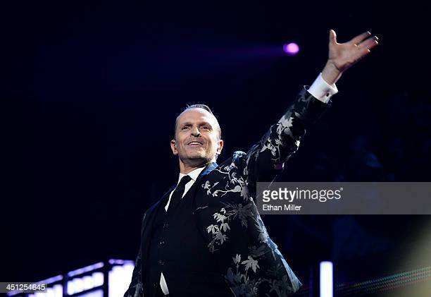 Honoree Miguel Bose accepts the Person of the Year award onstage during the 14th Annual Latin GRAMMY Awards held at the Mandalay Bay Events Center on...