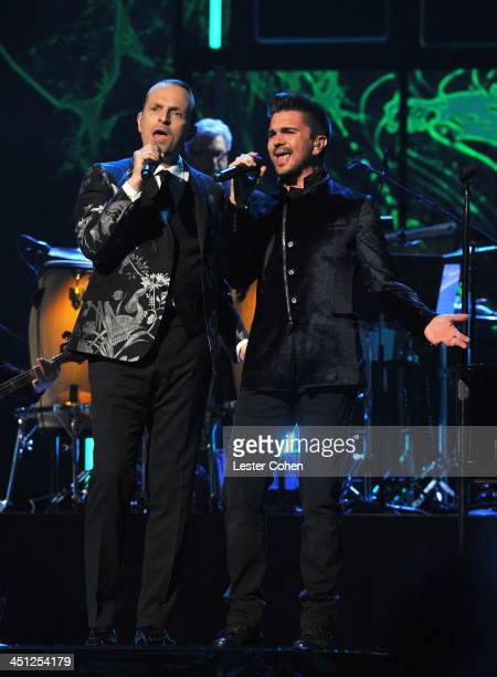 Honoree Miguel Bose and singer Juanes perform onstage during The 14th Annual Latin GRAMMY Awards at the Mandalay Bay Events Center on November 21...