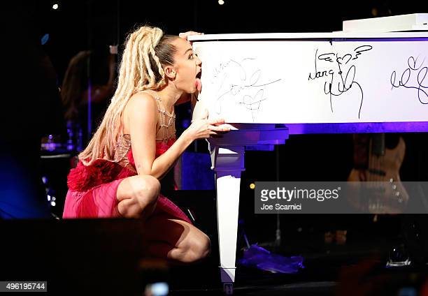 Honoree Miley Cyrus attends the Los Angeles LGBT Center 46th Anniversary Gala Vanguard Awards at the Hyatt Regency Century Plaza on November 7 2015...