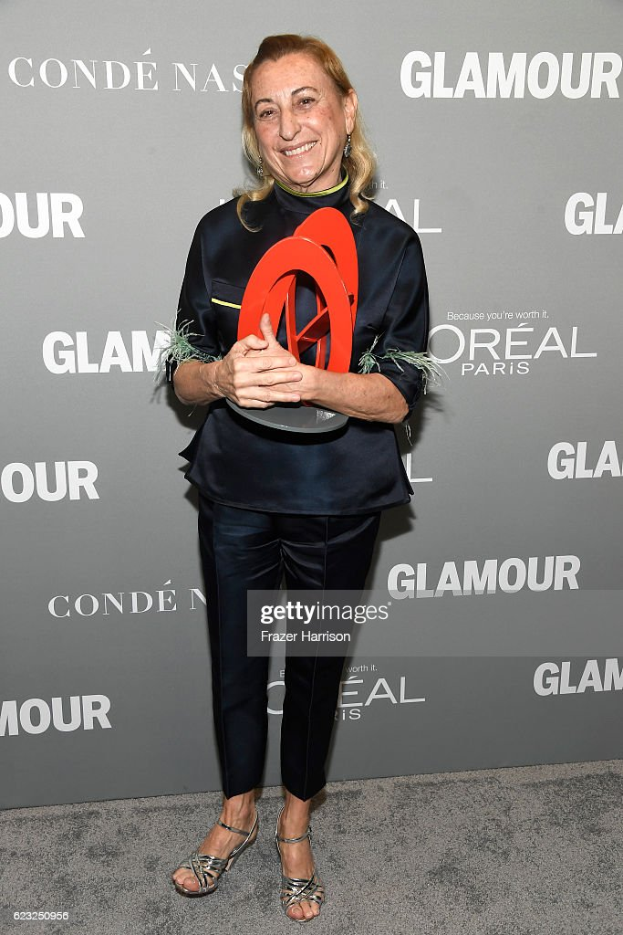 Honoree Miuccia Prada poses with an award during Glamour Women Of The Year 2016 at NeueHouse Hollywood on November 14, 2016 in Los Angeles, California.