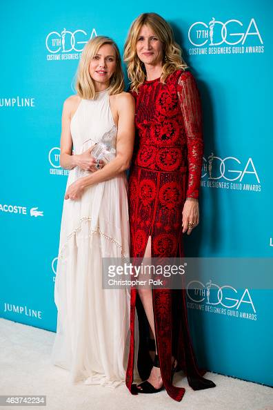 Honoree Naomi Watts and actress Laura Dern attend the 17th Costume Designers Guild Awards with presenting sponsor Lacoste at The Beverly Hilton Hotel...