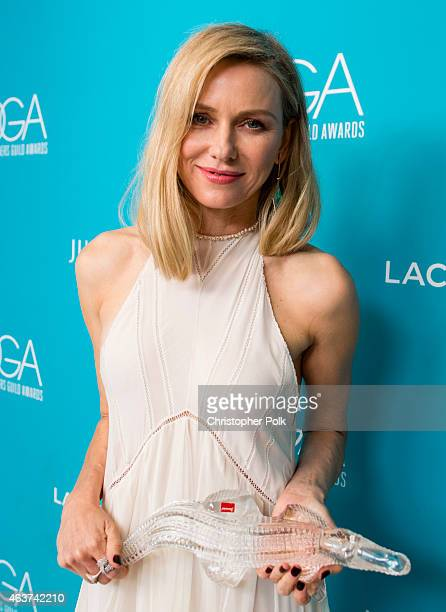 Honoree Naomi Watts poses with the LACOSTE Spotlight Award at the 17th Costume Designers Guild Awards with presenting sponsor Lacoste at The Beverly...