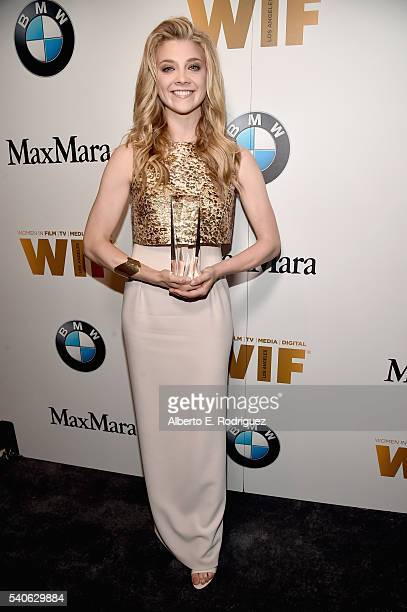 Honoree Natalie Dormer wearing Max Mara poses with the Women in Film Max Mara Face of the Future Award during the Women In Film 2016 Crystal Lucy...
