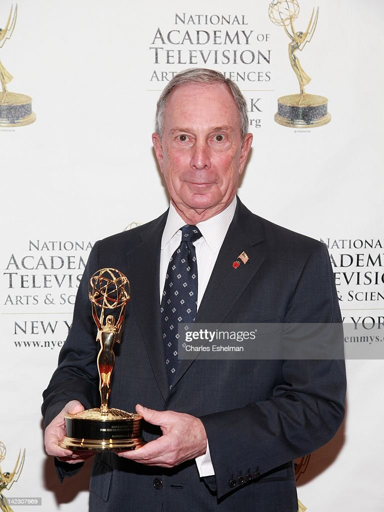 Honoree New York City Mayor <a gi-track='captionPersonalityLinkClicked' href=/galleries/search?phrase=Michael+Bloomberg&family=editorial&specificpeople=171685 ng-click='$event.stopPropagation()'>Michael Bloomberg</a> attends the 55th Annual New York Emmy Awards gala at the Marriott Marquis Times Square on April 1, 2012 in New York City.