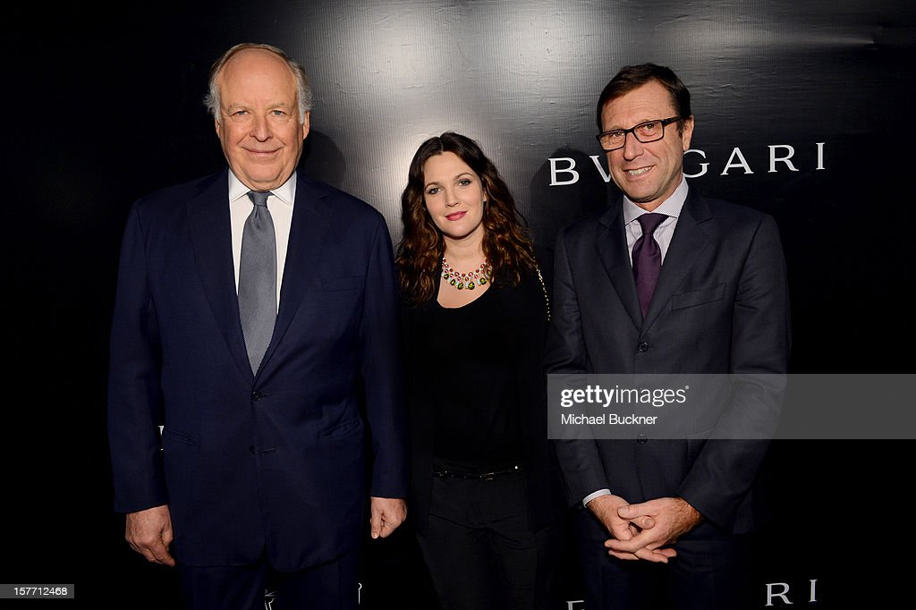 Honoree Nicola Bulgari, actress Drew Barrymore, and BVLGARI North American president Alberto Festa attend the Rodeo Drive Walk Of Style honoring BVLGARI and Mr. Nicola Bulgari held at Bulgari on December 5, 2012 in Beverly Hills, California.