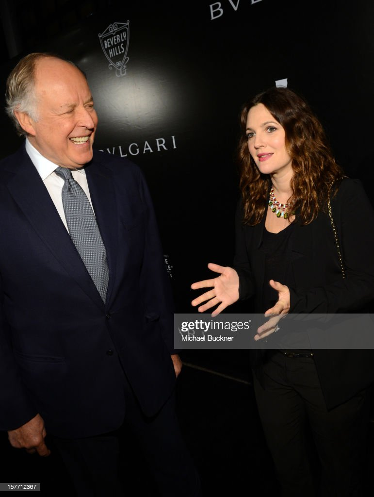 Honoree Nicola Bulgari and actress Drew Barrymore attend the Rodeo Drive Walk Of Style honoring BVLGARI and Mr. Nicola Bulgari held at Bulgari on December 5, 2012 in Beverly Hills, California.