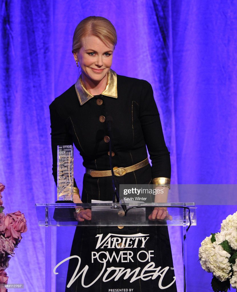 Honoree <a gi-track='captionPersonalityLinkClicked' href=/galleries/search?phrase=Nicole+Kidman&family=editorial&specificpeople=156404 ng-click='$event.stopPropagation()'>Nicole Kidman</a> speaks onstage during Variety's 5th Annual Power of Women event presented by Lifetime at the Beverly Wilshire Four Seasons Hotel on October 4, 2013 in Beverly Hills, California.