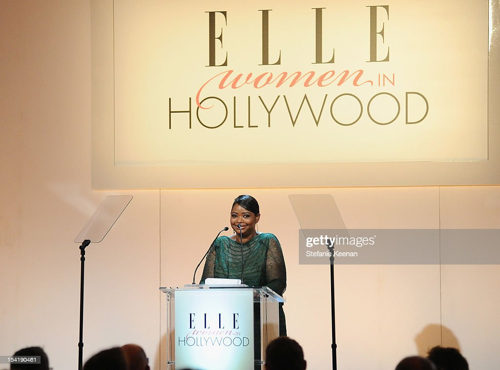 Honoree <a gi-track='captionPersonalityLinkClicked' href=/galleries/search?phrase=Octavia+Spencer&family=editorial&specificpeople=2538115 ng-click='$event.stopPropagation()'>Octavia Spencer</a> speaks onstage at ELLE's 19th Annual Women In Hollywood Celebration at the Four Seasons Hotel on October 15, 2012 in Beverly Hills, California.