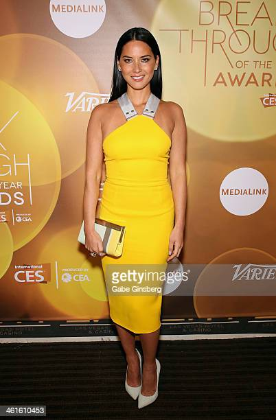 Honoree Olivia Munn poses backstage at the Variety Breakthrough of the Year Awards during the 2014 International CES at The Las Vegas Hotel Casino on...