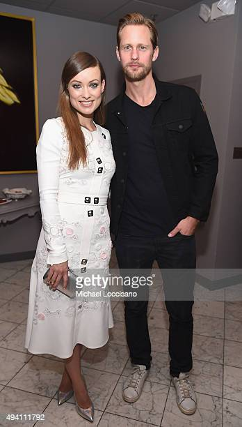 Honoree Olivia Wilde and Alexander Skarsgard attend the opening night screening of 'Suffragette' during 18th Annual Savannah Film Festival Presented...