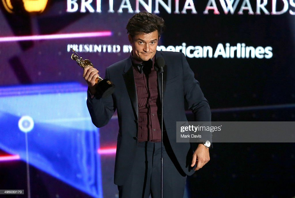 Honoree Orlando Bloom accepts the Britannia Humanitarian Award onstage during the 2015 Jaguar Land Rover British Academy Britannia Awards presented by American Airlines at The Beverly Hilton Hotel on October 30, 2015 in Beverly Hills, California.
