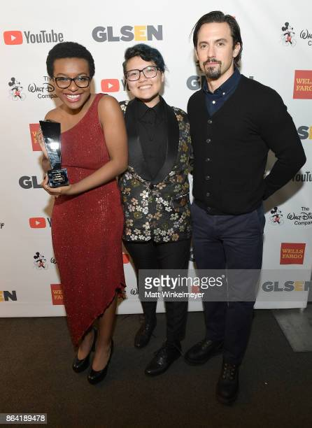 Honoree Ose Arheghan GLSEN National Student Council member Marcus Breed and Milo Ventimiglia pose with the Student Advocate of the Year award at the...