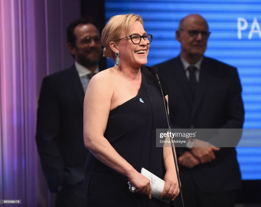 Honoree Patricia Arquette accepts the Vanguard Award onstage during the 28th Annual GLAAD Media Awards in LA at The Beverly Hilton Hotel on April 1, 2017 in Beverly Hills, California.
