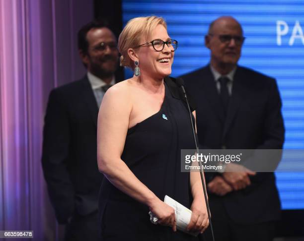Honoree Patricia Arquette accepts the Vanguard Award onstage during the 28th Annual GLAAD Media Awards in LA at The Beverly Hilton Hotel on April 1...