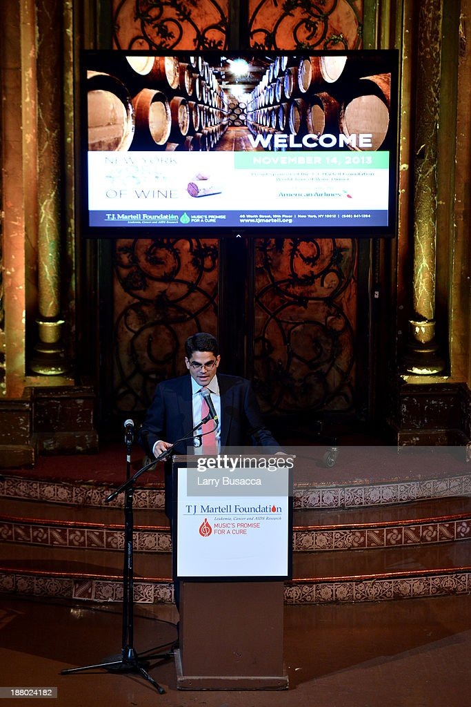 Honoree Patrick Mata speaks onstage at T.J. Martell Foundation's Annual World Tour of Wine Dinner at The Angel Orensanz Foundation on November 14, 2013 in New York City.