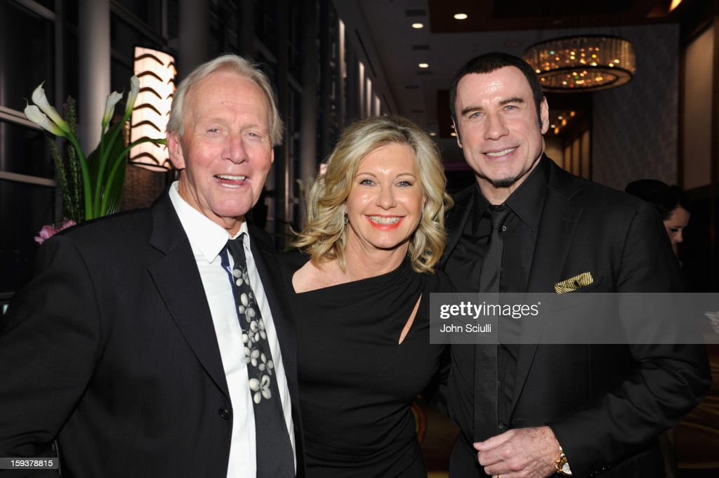 Honoree <a gi-track='captionPersonalityLinkClicked' href=/galleries/search?phrase=Paul+Hogan&family=editorial&specificpeople=208676 ng-click='$event.stopPropagation()'>Paul Hogan</a>, presenter Olivia Newton-John and honoree <a gi-track='captionPersonalityLinkClicked' href=/galleries/search?phrase=John+Travolta&family=editorial&specificpeople=178204 ng-click='$event.stopPropagation()'>John Travolta</a> attend the 2013 G'Day USA Los Angeles Black Tie Gala at JW Marriott Los Angeles at L.A. LIVE on January 12, 2013 in Los Angeles, California.
