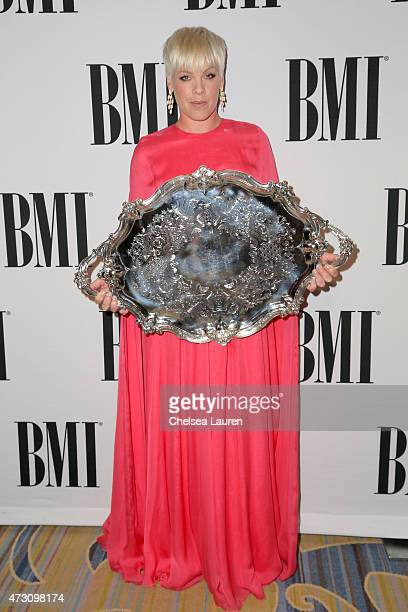 Honoree Pnk poses with the BMI President's Award during the 63rd Annual BMI Pop Awards held at the Beverly Wilshire Hotel on May 12 2015 in Beverly...