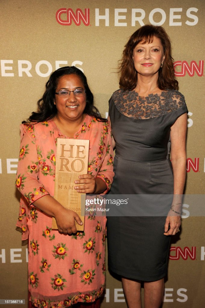 Honoree Pushpa Basnet of the Early Childhood Development Center (L) and actress <a gi-track='captionPersonalityLinkClicked' href=/galleries/search?phrase=Susan+Sarandon&family=editorial&specificpeople=202474 ng-click='$event.stopPropagation()'>Susan Sarandon</a> attend the CNN Heroes: An All Star Tribute at The Shrine Auditorium on December 2, 2012 in Los Angeles, California. 23046_005_KM_0213.JPG