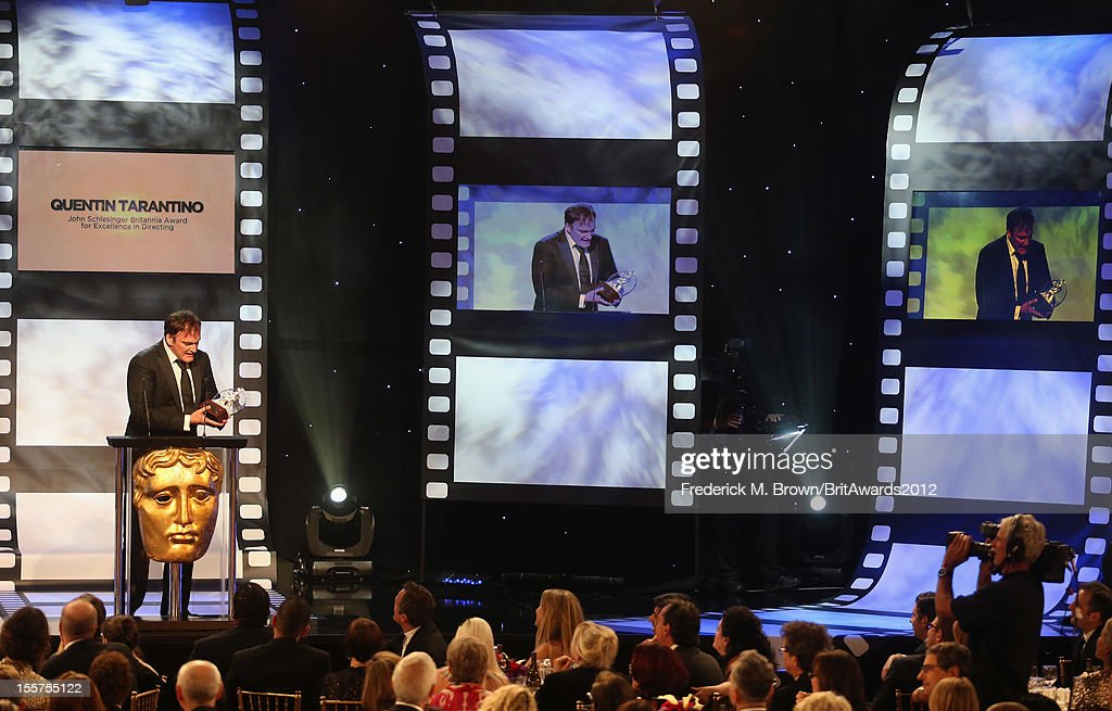 Honoree <a gi-track='captionPersonalityLinkClicked' href=/galleries/search?phrase=Quentin+Tarantino&family=editorial&specificpeople=171796 ng-click='$event.stopPropagation()'>Quentin Tarantino</a> accepts the John Schlesinger Britannia Award for Excellence in Directing onstage at the 2012 BAFTA Los Angeles Britannia Awards Presented By BBC AMERICA at The Beverly Hilton Hotel on November 7, 2012 in Beverly Hills, California.