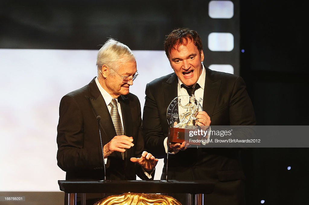 Honoree Quentin Tarantino accepts the John Schlesinger Britannia Award for Excellence in Directing from presenter Roger Corman onstage at the 2012 BAFTA Los Angeles Britannia Awards Presented By BBC AMERICA at The Beverly Hilton Hotel on November 7, 2012 in Beverly Hills, California.