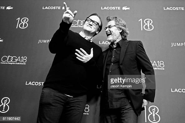 Honoree Quentin Tarantino and actor Kurt Russell attend the 18th Costume Designers Guild Awards at The Beverly Hilton Hotel on February 23 2016 in...