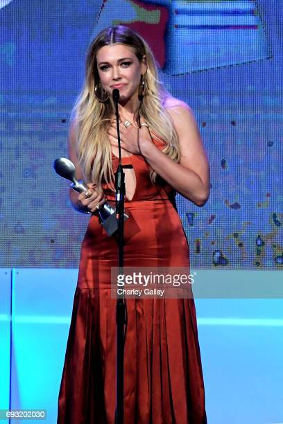 Honoree Rachel Platten accepts award onstage during the 42nd Annual Gracie Awards hosted by The Alliance for Women in Media at the Beverly Wilshire...
